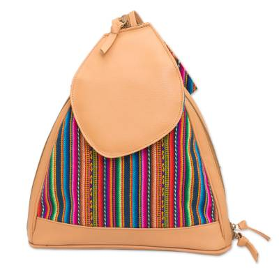 Striped Leather Accented Wool Blend Backpack from Peru