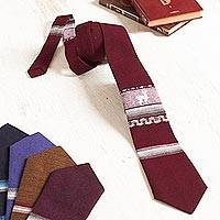 Men's tie, 'Noble Llama in Maroon' - Maroon Llama Pattern Men's Tie from Peru