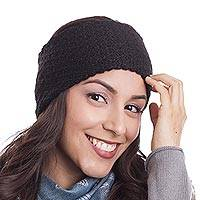 100% baby alpaca ear warmer, 'Passionate Waves in Black' - Wave Pattern 100% Baby Alpaca Headband in Black from Peru