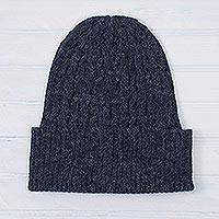 100% alpaca hat, 'Indigo Braid Cascade' - Cable-Knit 100% Alpaca Hat in Indigo from Peru