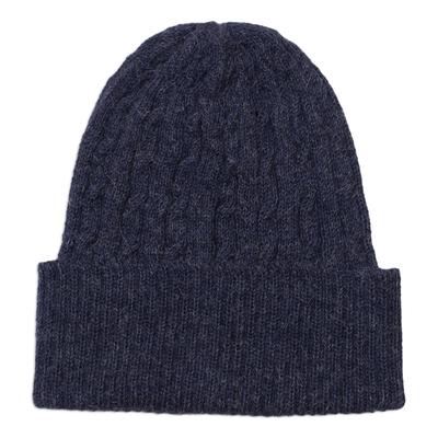 Cable-Knit 100% Alpaca Hat in Indigo from Peru