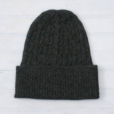 100% alpaca hat, 'Moss Braid Cascade' - Cable-Knit 100% Alpaca Hat in Moss from Peru