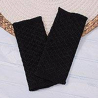 100% baby alpaca fingerless mitts, 'Passionate Pattern in Black' - Patterned 100% Baby Alpaca Fingerless Mitts in Black