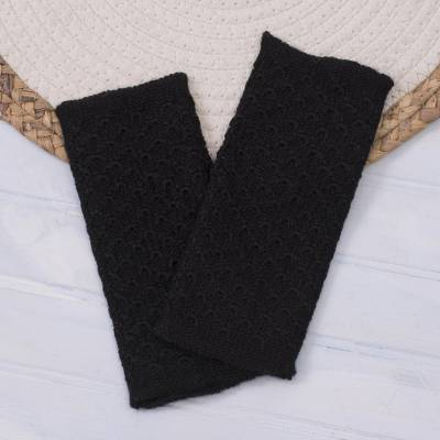 100% baby alpaca fingerless mitts, Passionate Pattern in Black