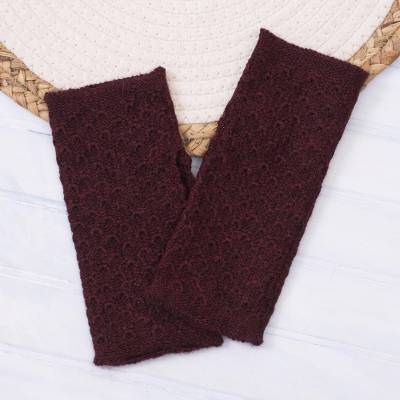 100% baby alpaca fingerless mitts, 'Passionate Pattern in Maroon' - Patterned 100% Baby Alpaca Fingerless Mitts in Maroon