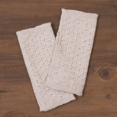 100% baby alpaca fingerless mitts, 'Passionate Pattern in Ivory' - Patterned 100% Baby Alpaca Fingerless Mitts in Ivory