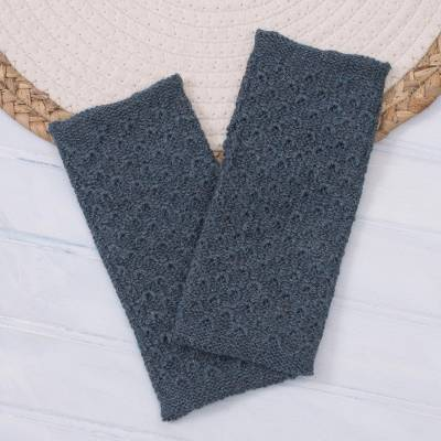 100% baby alpaca fingerless mitts, 'Passionate Pattern in Teal' - Patterned 100% Baby Alpaca Fingerless Mitts in Teal