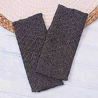 100% baby alpaca fingerless mitts, 'Passionate Pattern in Graphite' - Patterned 100% Baby Alpaca Fingerless Mitts in Graphite