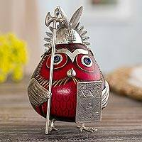 Sterling silver and gourd figurine, 'Owl Capac in Red' - Inca-Themed Sterling Silver and Gourd Owl Figurine in Red