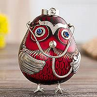 Sterling silver and gourd figurine, 'Male Owl Doctor in Red' - Sterling Silver and Red Gourd Male Owl Doctor Figurine