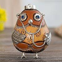 Sterling silver and gourd figurine, 'Female Owl Doctor in Brown' - Sterling Silver and Brown Gourd Female Owl Doctor Figurine