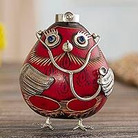 Sterling silver and gourd figurine, 'Female Owl Doctor in Red' - Sterling Silver and Red Gourd Female Owl Doctor Figurine