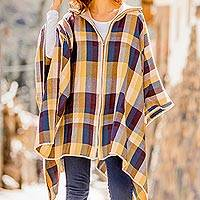 Alpaca blend poncho sweater, 'Cuzco Morning' - Check Pattern Alpaca Blend Poncho Sweater from Peru