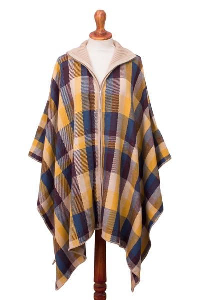 Alpaca blend poncho sweater, 'Cuzco in the Morning' - Check Pattern Alpaca Blend Poncho Sweater from Peru