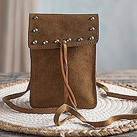 Suede sling, 'Saddle Bag' - Handmade Suede Sling in Saddle Brown from Peru