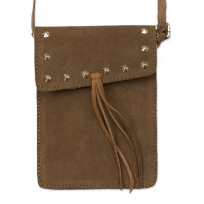 Handmade Suede Sling in Saddle Brown from Peru