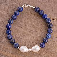 Lapis lazuli and cultured pearl beaded bracelet, 'Moon at Night' - Lapis Lazuli and Cultured Pearl Beaded Bracelet from Peru