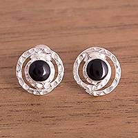 Obsidian stud earrings, 'Cuzco Aura' - Modern Obsidian Stud Earrings from Peru