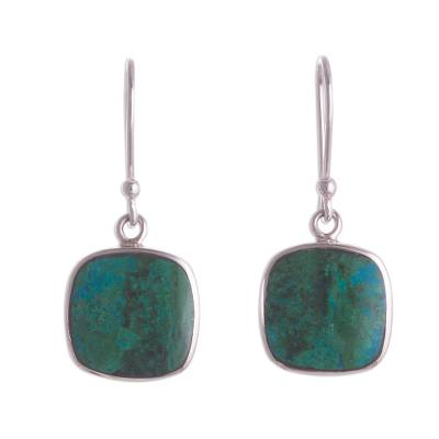 Square Chrysocolla Dangle Earrings from Peru