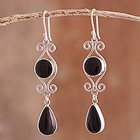 Obsidian dangle earrings, 'Vintage Drops' - Swirl Pattern Obsidian Dangle Earrings from Peru