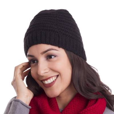 Ribbed Hand-Crocheted Alpaca Blend Hat in Black from Peru