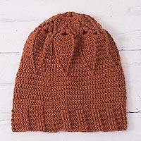 Alpaca blend hat, 'Chic Flower' - Floral Hand-Crocheted Alpaca Blend Hat from Peru