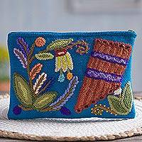 Wool clutch, 'Nature's Flute' - Music-Themed Embroidered Wool Clutch from Peru