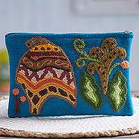 Wool clutch, 'Chullo Nature' - Cultural Hand-Embroidered Wool Clutch from Peru