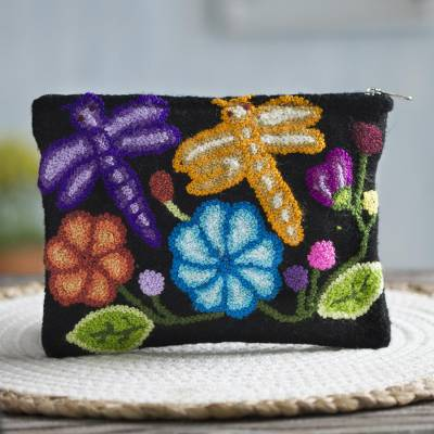 Wool clutch, 'Dragonflies in Nature' - Dragonfly Pattern Embroidered Wool Clutch from Peru