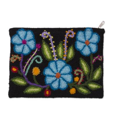 Blue Floral Embroidered Wool Clutch from Peru