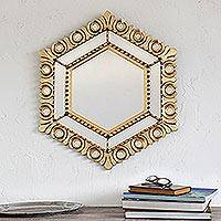Bronze gilded wood wall mirror, 'Majestic Hex' - Hexagonal Bronze Gilded Wood Wall Mirror from Peru