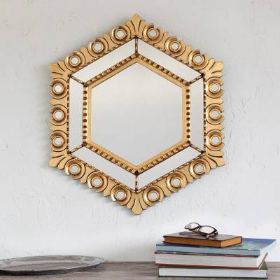 Bronze gilded wood wall mirror, Majestic Hex