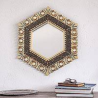 Bronze gilded wood wall mirror, 'Magnificent Hex' - Circle Motif Hexagonal Bronze Gilded Wood Wall Mirror