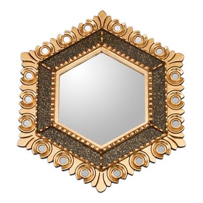 Circle Motif Hexagonal Bronze Gilded Wood Wall Mirror