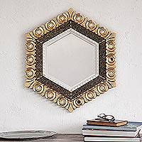 Bronze gilded wood wall mirror, 'Sublime Hex'