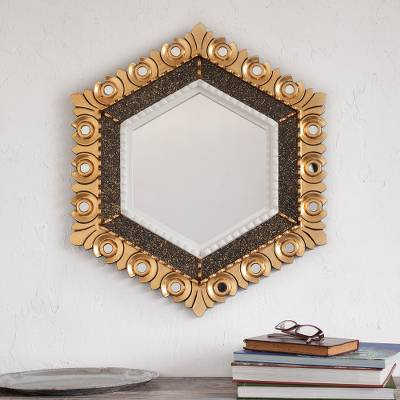 Bronze gilded wood wall mirror, 'Sublime Hex' - Peruvian Bronze Gilded Wood Wall Mirror in a Hexagon Shape