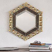 Bronze and silver gilded wood wall mirror, 'Sophisticated Hex' - Hexagonal Bronze and Silver Gilded Wood Wall Mirror