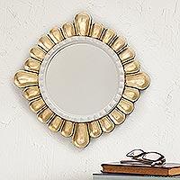 Bronze gilded wood wall mirror, 'Colonial Petals'