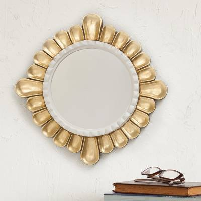 Bronze gilded wood wall mirror, 'Colonial Petals' - Petal Motif Bronze Gilded Wood Wall Mirror from Peru