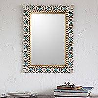 Silver and bronze gilded wood wall mirror, 'Colonial Fleur de Lis'