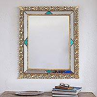 Bronze gilded wood wall mirror, 'Colonial Herald' - Rectangular Bronze Gilded Wood Wall Mirror from Peru