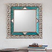 Silver gilded wood wall mirror, 'Colonial Trance'