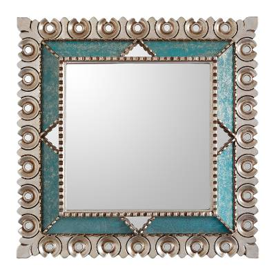 Silver gilded wood wall mirror, 'Colonial Trance' - Square Silver Gilded Wood Wall Mirror from Peru