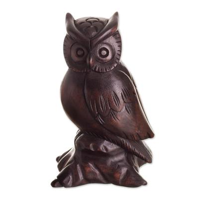 Cedar wood sculpture, 'Guardian of the Night' - Hand-Carved Cedar Wood Owl Sculpture from Peru