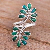 Chrysocolla cocktail ring, 'Sprigs of Bliss' - Chrysocolla and Sterling Silver Ring with Leaf Motif
