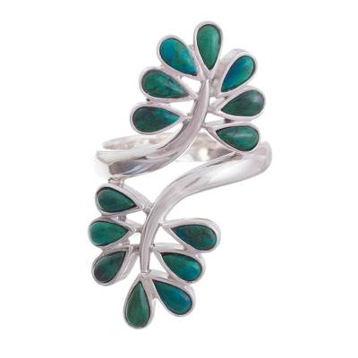 Chrysocolla and Sterling Silver Ring with Leaf Motif