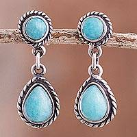 Amazonite dangle earrings, 'Sky Forms' - Circular and Teardrop Amazonite Dangle Earrings from Peru