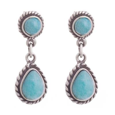 Amazonite dangle earrings, 'Sky Forms' - Circular and Teardrop Amazonite Dangle Earrings from Peru