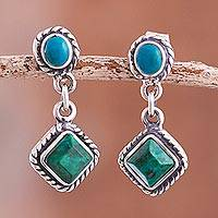 Chrysocolla dangle earrings, 'Different Hues' - Green and Blue Chrysocolla Dangle Earrings from Peru