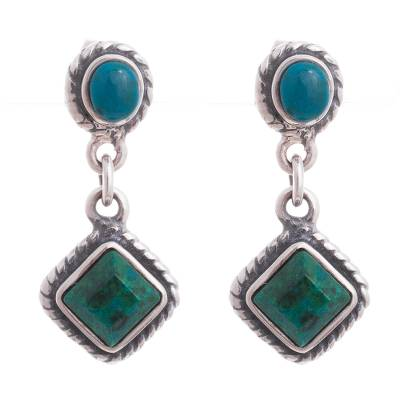 Green and Blue Chrysocolla Dangle Earrings from Peru